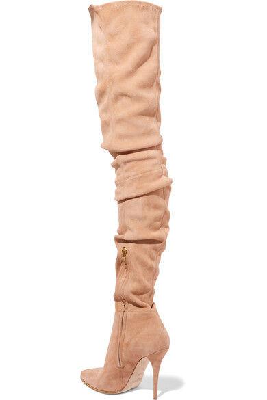 Faux Wildleder Sexy Damen Overkneestiefel High Heel Nachtclub Schuhe Stiefel