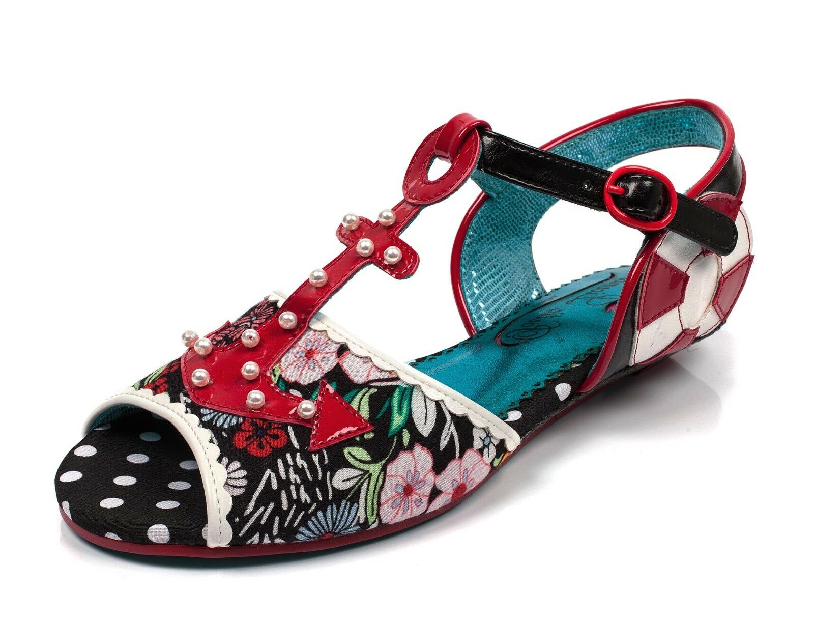 Poetic Licence NEW Sailor Beware schwarz rot anchor floral open toe sandals sz 3-9