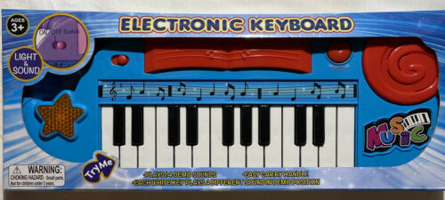 Blue Electronic Music Keyboard With Lights And Sounds Kid Toy