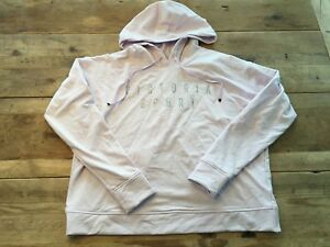 VICTORIA/'S SECRET SPORT GRAY SOLID FLEECE CUT-OUT BACK HOODIE PULLOVER TUNIC