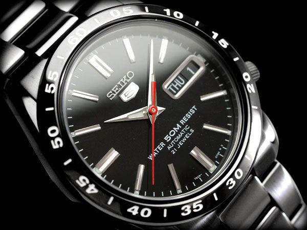 New!! SEIKO 5 SNKE03 SNKE03K Automatic Analog Stainless Steel Black Men's Watch