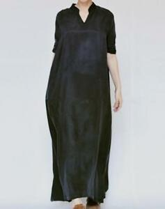 Silk-Womens-Long-Dress-V-Collar-Casual-Caftan-Holiday-Loose-Robe-Coat-Solid-Chic