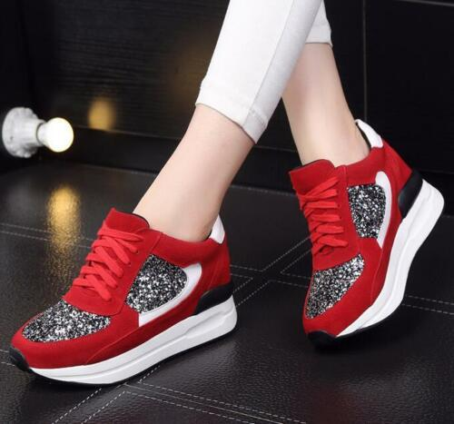 Women Glitter leather Shoes High Heel Pumps Wedge Shoes Trainers Sneakers Size
