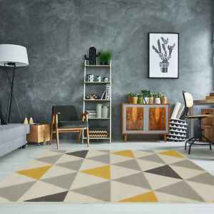 Yellow Mustard Grey Geometric Rug