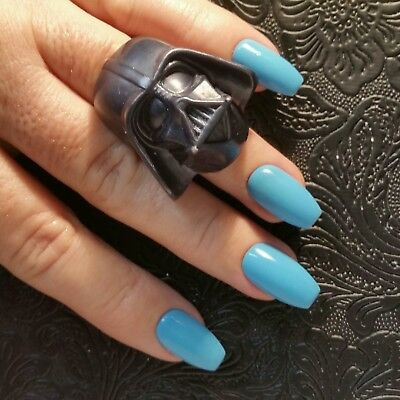blue medium length nails coffin  nail and manicure trends