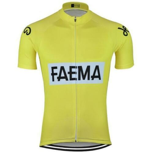 Yellow FAEMA Retro Cycling Jersey Tour De France Eddy Merckx