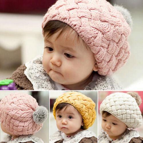 Cute Kids Baby Toddler Girls Crochet Knit Beret Hat Cute Winter Warm Beanie Cap