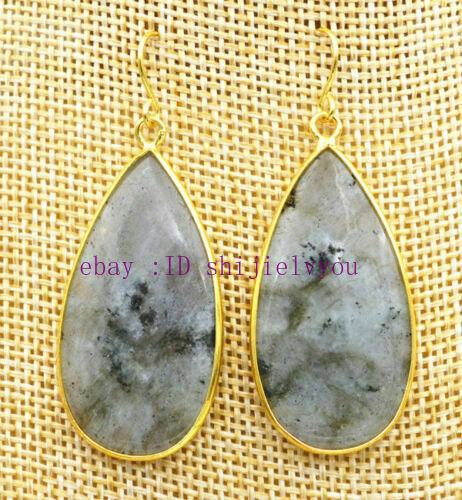 Women/'s 20x38mm Natural Labradorite Teardrop Gemme Dangle Boucles d/'oreilles Créoles