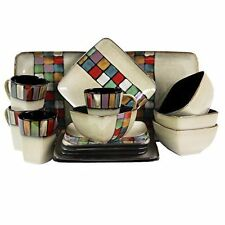 NEW Elama Melange Piece Stoneware Dinnerware Set 16