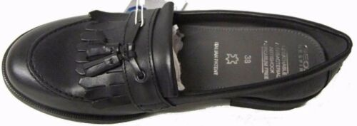 GEOX JR AGATA Girls Slip On Leather Smart Moccasin Tassel School Shoes Black