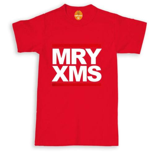 Funny MRY XMS Men/'s T-shirts Merry Christmas Tops Short Sleeve Cotton Cool Tee