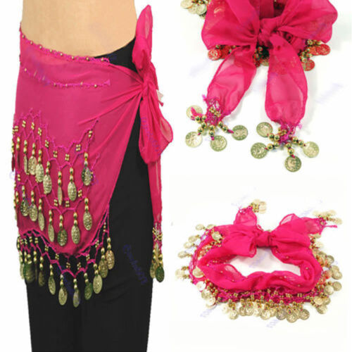 Belly Dance Dancing Hip Skirt Scarf Wrap Chiffon 3 Layers Gold Coin Waist Belt