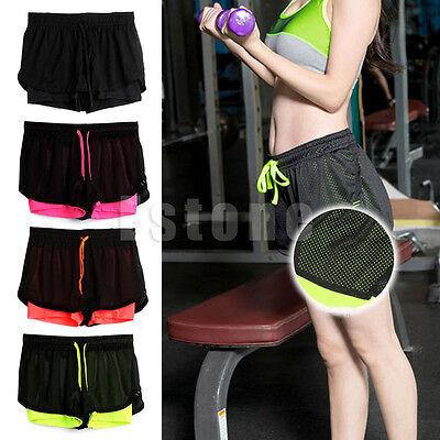 Summer Women Sports Gym Net Waistband Training Yoga Shorts Pants Sportswear New