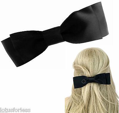 Big Beautiful Black Satin Bow Hair clip Grip Barrette French Clip 18 cms Long