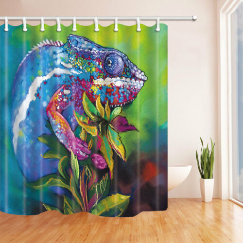 Watercolor Chameleon On Flowers Bathroom Fabric Shower Curtain 71 Inch /& 12 Hook