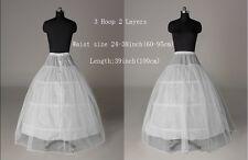2layer White Petticoat Wedding Gown Crinoline Petticoat Skirt Slip 3HOOP