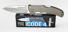 Cold Steel Code 4 Spear Point Knife CTS® XHP Plain Edge Black Handle 58TPCS