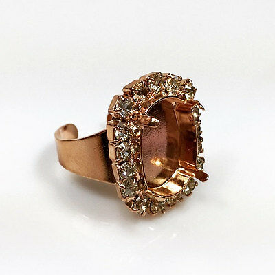 Jewelry & Watches Ring 18x13mm Rose Gold Adjustable Ring Setting W/crystal Rhinestone Fit Swarovski4120 Clear-Cut Texture