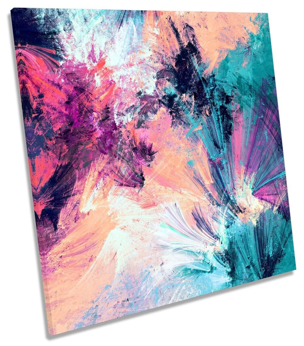 rosa rosa rosa Blu ASTRATTO GRUNGE incorniciato stampa tela QUADRATO Wall Art 3c220e
