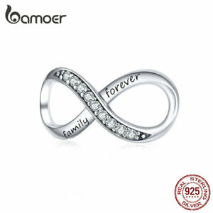 BAMOER-Authentic-925-Sterling-silver-charm-Infinity-Love-amp-cz-Fit-Bracelet-Jewelry