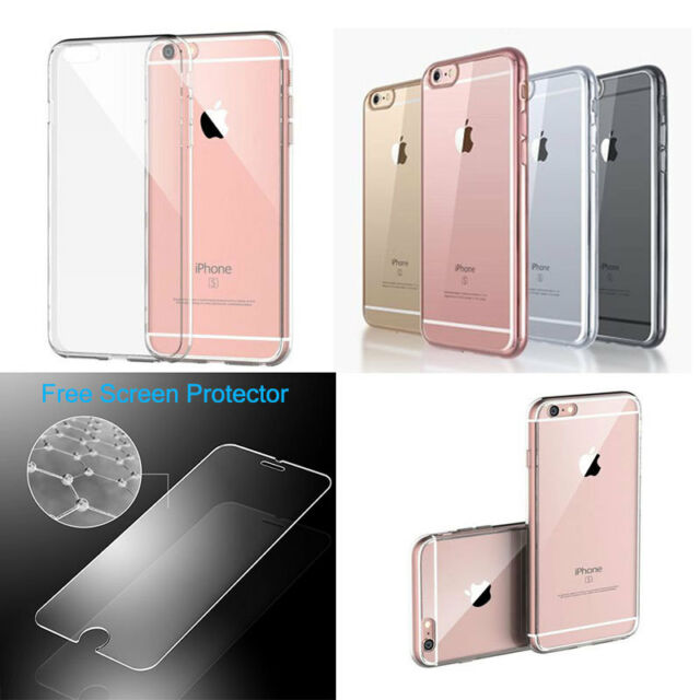 Transparent Clear Silicone Slim Gel Case and Screen Protector for iPhone 4/5S/6S