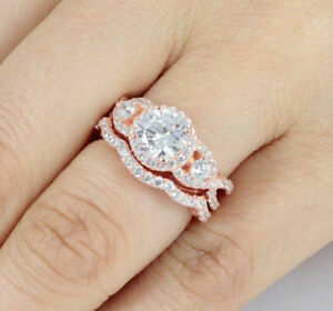Rose Gold Over Sterling Silver Cz Wedding Band Engagement Rings Set