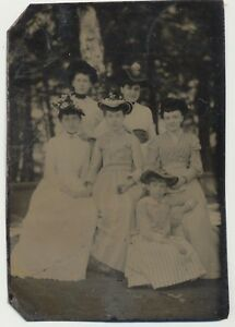 Antique-Victorian-6th-Plate-Tintype-Photo-of-Fashion-Women-Outside-Wearing-Hats