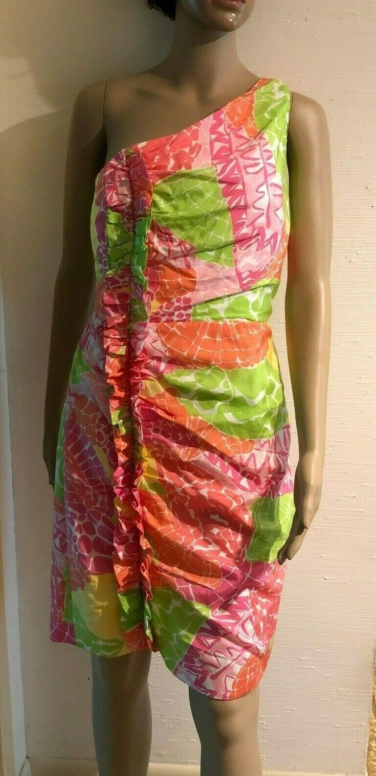 Lilly Pulitzer Silk Blend One Shoulder Rosa Grün Gelb Shell Dress Größe 6 NWOT