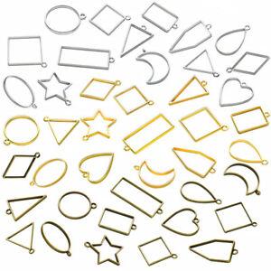 10PCS-Rack-placcatura-Open-Back-Lunetta-Ciondoli-Hollow-Charms-pressato-BIANCHI-telaio