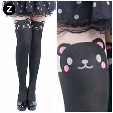 Cute Bear Tattoo Tights Japan Animal Panda Tail Print Knee High Pantyhose