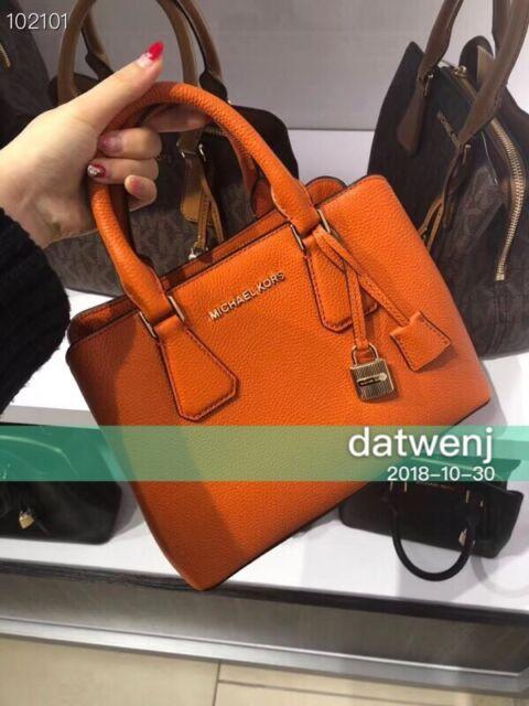 37c78209c7bf ❤️NWT MICHAEL KORS CAMILLE SMALL SATCHEL CROSSBODY LEATHER BAG  Tangerine/Orange