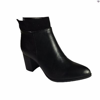 Womens Ladies Zip-up Ankle High-Heel Leather Boots Black Shoes Size 3 4 5 6 7 8