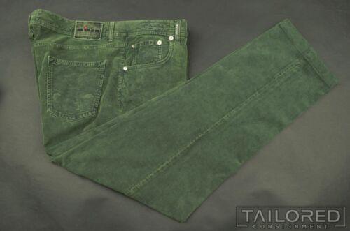 KITON Solid Green CORDUROY Cotton Mens Luxury Pant
