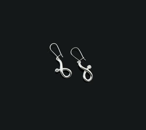 Genuine Sterling 925 Silver Ladies Women/'s Handmade Earrings Zircon/'s Gift Box