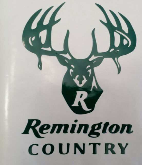 Remington country logo high gloss green vinyl die cut gun sticker