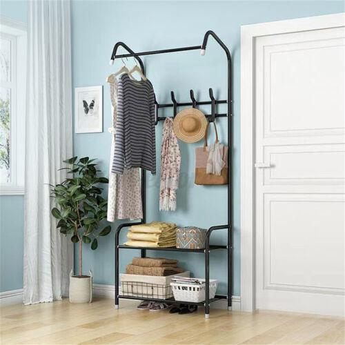Iron Hat Coat Shelf Rack Bags Clothes Cloth Shoe Stand Garment Hanger Hooks Home
