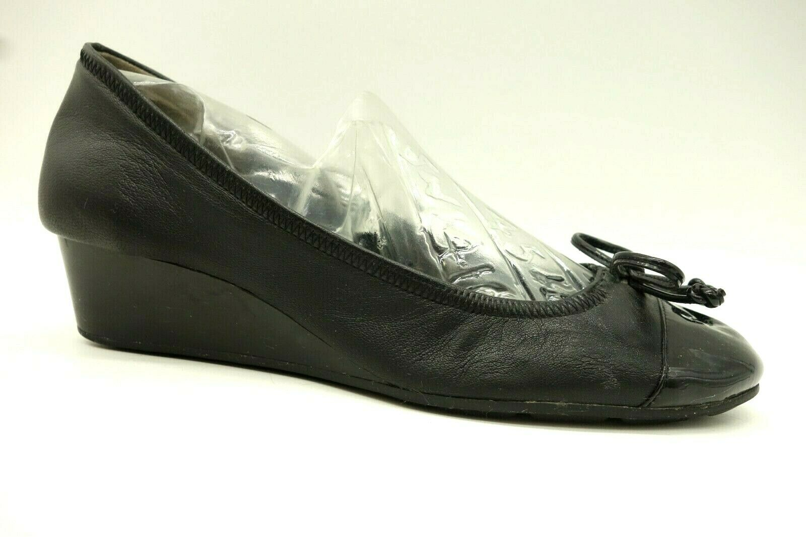 Cole Haan Black Leather Cap Toe Casual Wedge Heel Flats shoes Women's 5.5 B