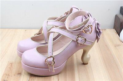 New!! Table Legs Style Heels Lolita Shoes Lady Leather Shoes