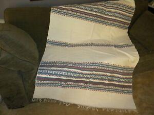 Woven Wool Striped Greek Key Throw Blanket Dark Red Blue Ecru Fringed Ebay