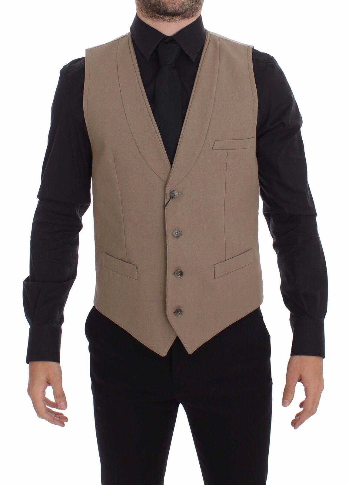 NEW 620 DOLCE & GABBANA Vest Beige Cotton Slim Fit Button Front Dress s 48 / M