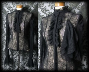 Gothic-Black-Lace-Frill-Jabot-VICTORIAN-GOVERNESS-High-Neck-Blouse-6-8-Steampunk
