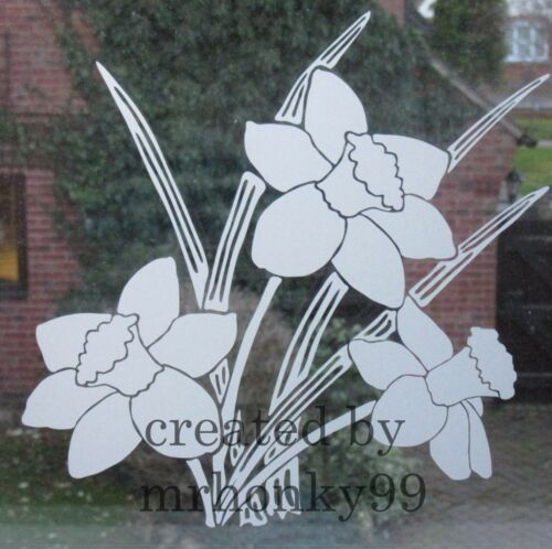 """SHOWERS 9/"""" FROSTED GLASS DAFFODIL VINYL STICKER DECAL FOR PATIO DOOR WINDOWS"""