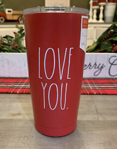 Rae-Dunn-LOVE-YOU-Insulated-Stainless-Steel-Red-Travel-Tumbler-w-Lid
