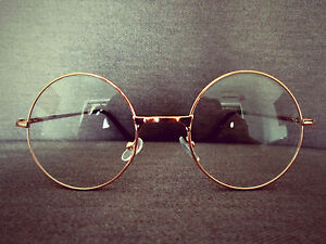 Harry Potter Gold Metal Oversized Vintage Round Fashion Glasses 60s ... 9e0971ee578e