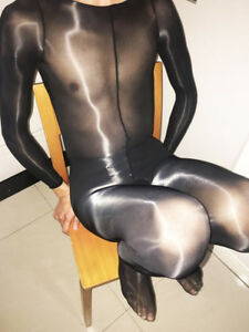 8b804c115f6 Details about Unisex High Quality Super shiny Long Sleeve bodystocking  Bodysuit Closed Crotch