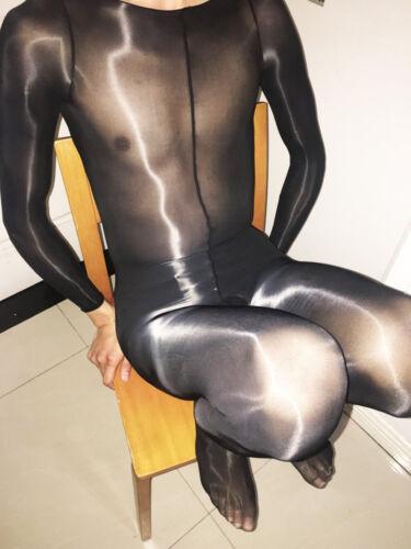 High Quality Men bodystocking Super shiny Long Sleeve Sheath Closed OP Bodysuit