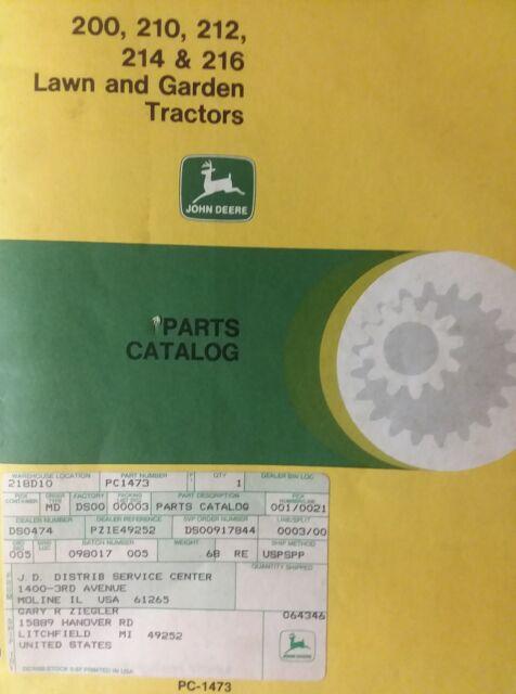 200 210 212 214 216 john deere lawn garden tractor parts catalog rh ebay com John Deere 214 Kohler Engine john deere 214 parts manual pdf