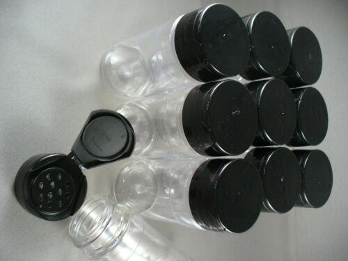 SPICE BOTTLES JARS 4oz CLEAR 11 HOLE FLIP SEALING CAP LOT OF 10 RED OR BLACK CAP