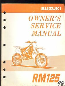 1998 suzuki rm125 motorcycle owner s service manual ebay rh ebay ie 1998 suzuki rm125 service manual 2003 Suzuki RM 125 Manual