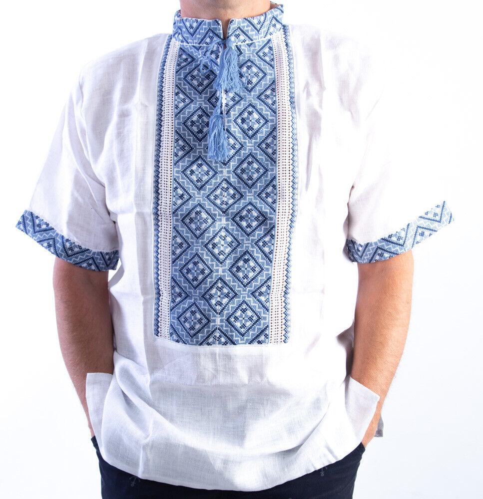 Ukrainisches Hemd VYSHYVANKA für Männer LINEN white grey Kurzarmhemd Leinenhemd